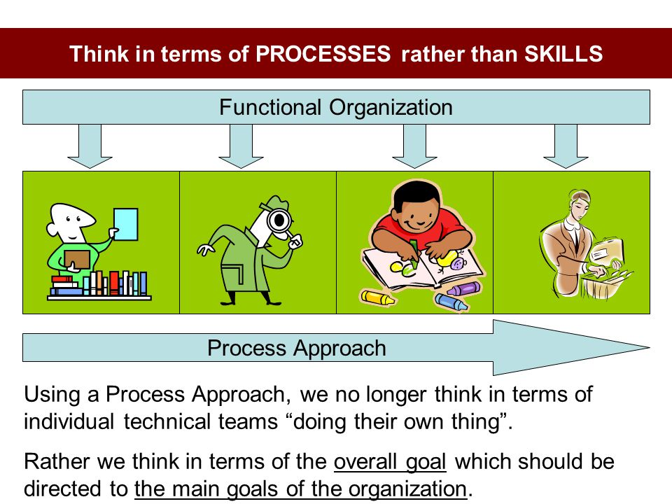 Think in terms of PROCESSES rather than SKILLS