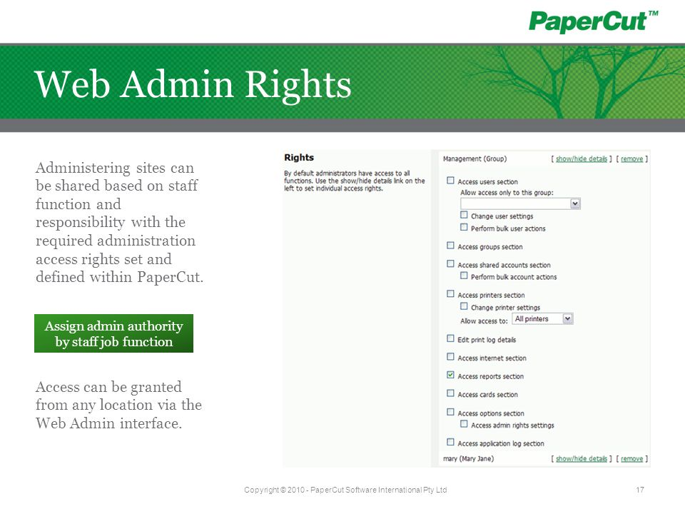 Web Admin Rights