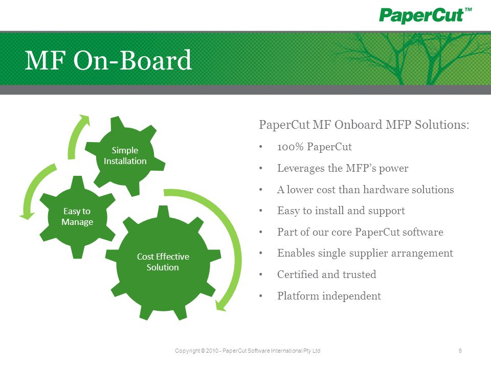 MF On-Board PaperCut MF Onboard MFP Solutions: 100% PaperCut