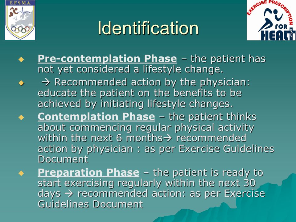 Identification Pre-contemplation Phase – the patient has not yet considered a lifestyle change.