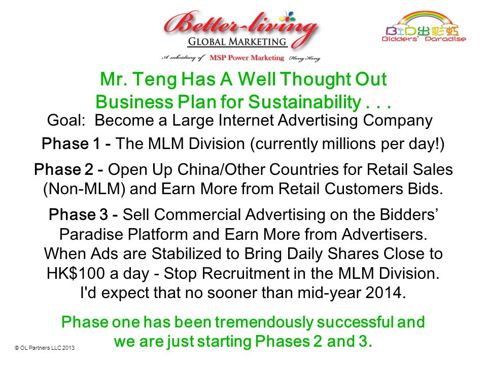 Mr. Teng Has A Well Thought Out Business Plan for Sustainability . . .