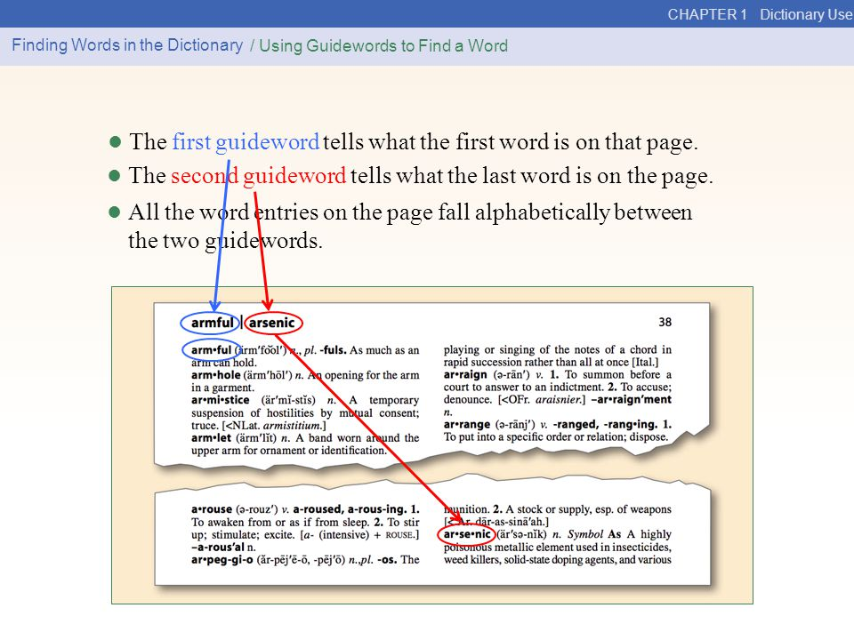 • The first guideword tells what the first word is on that page.