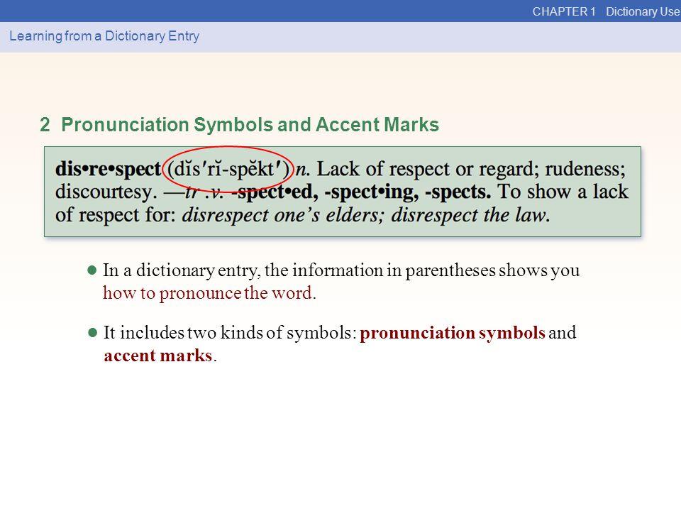 2 Pronunciation Symbols and Accent Marks
