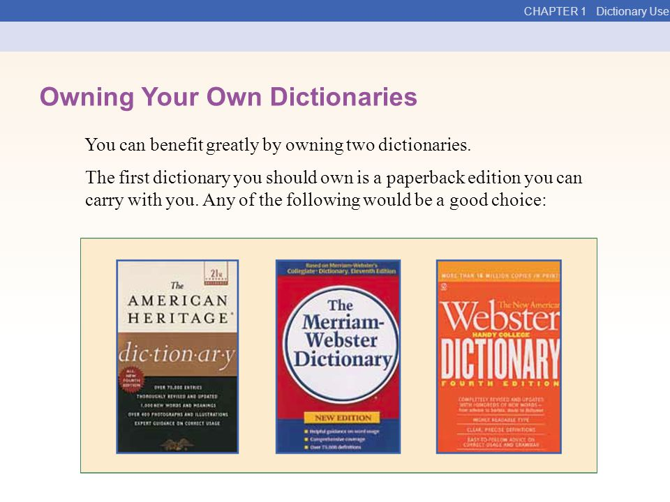Owning Your Own Dictionaries