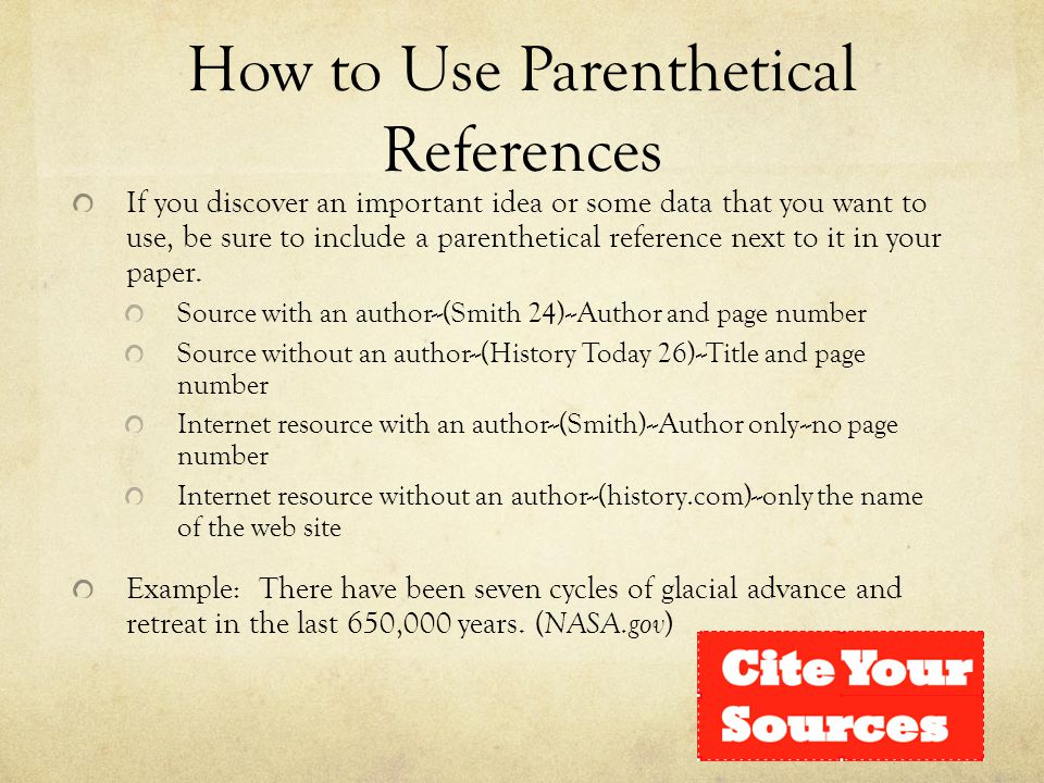 How to Use Parenthetical References