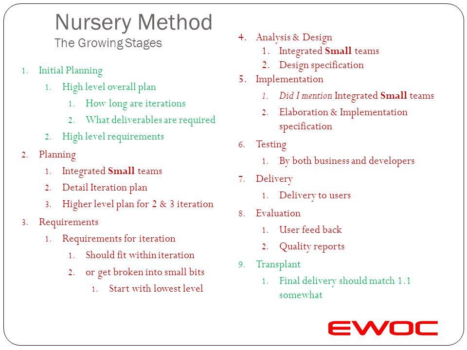 Nursery Method The Growing Stages