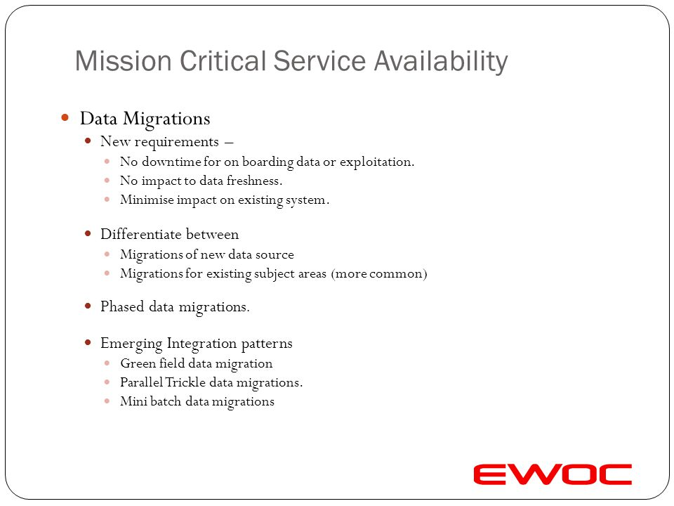 Mission Critical Service Availability