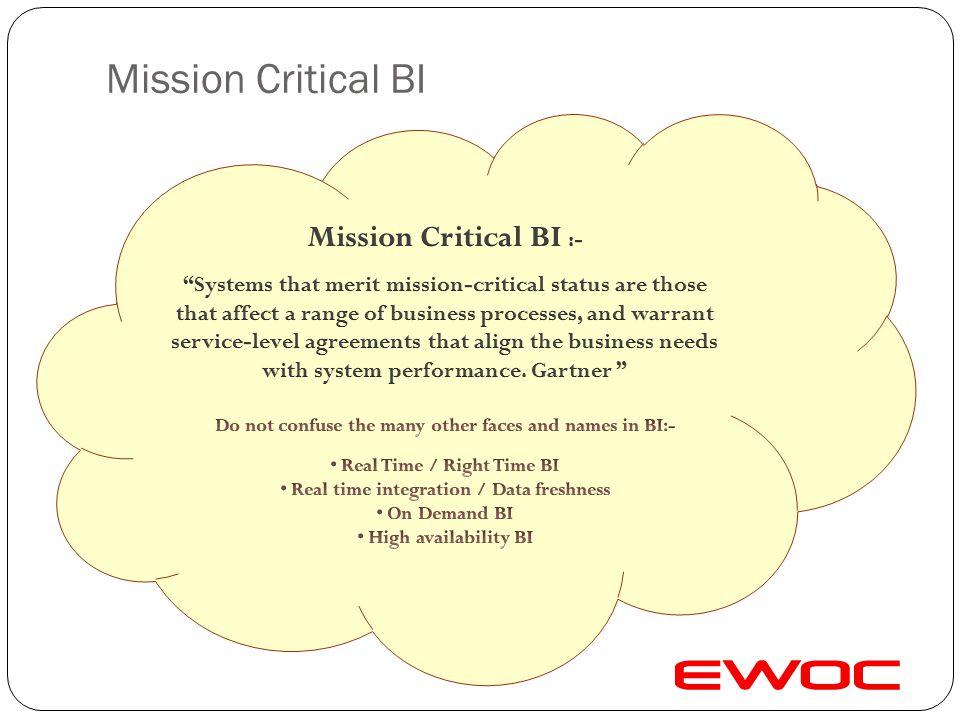 Mission Critical BI Mission Critical BI :-
