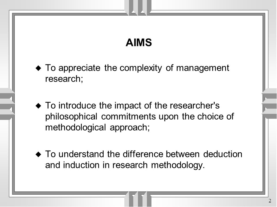 AIMS To appreciate the complexity of management research;