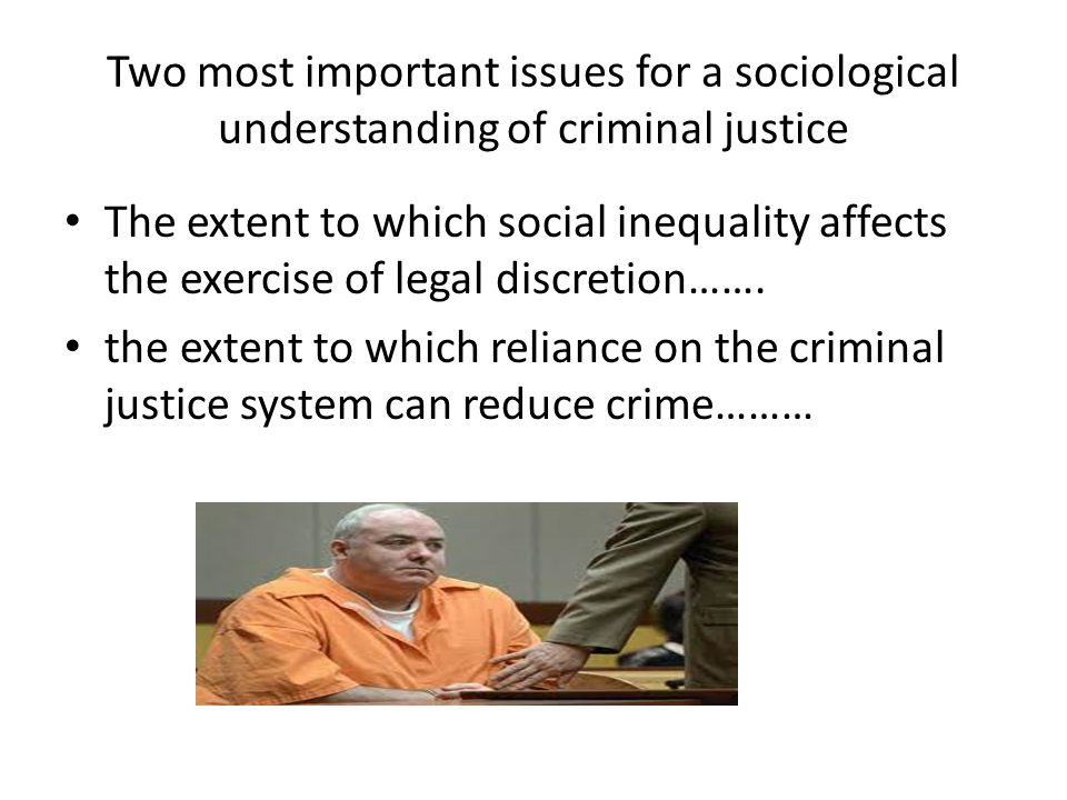 Two most important issues for a sociological understanding of criminal justice