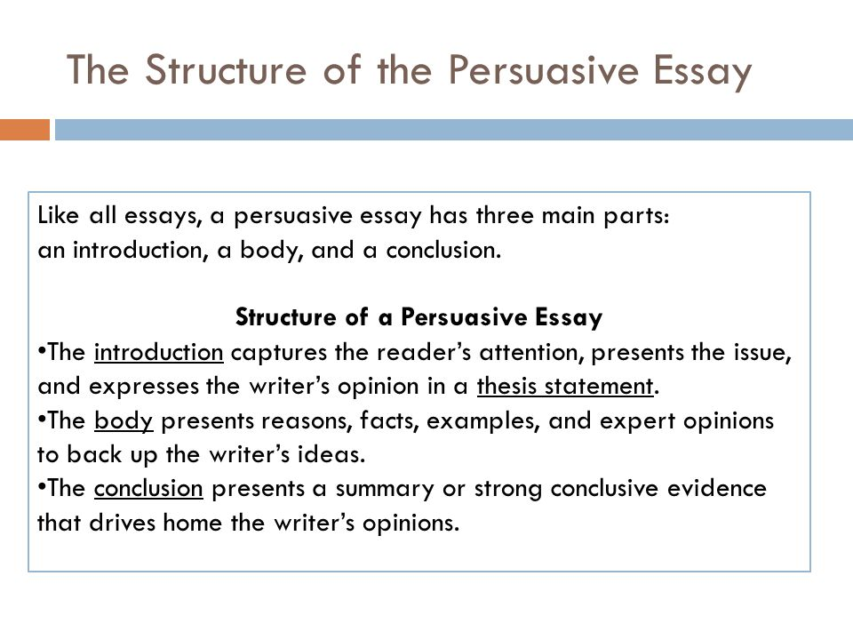 the body of a persuasive essay Since this is the most common type of essay, it is important to be familiar with its requirements and style check out our persuasive essay samples to get acquainted with this popular form of essay.