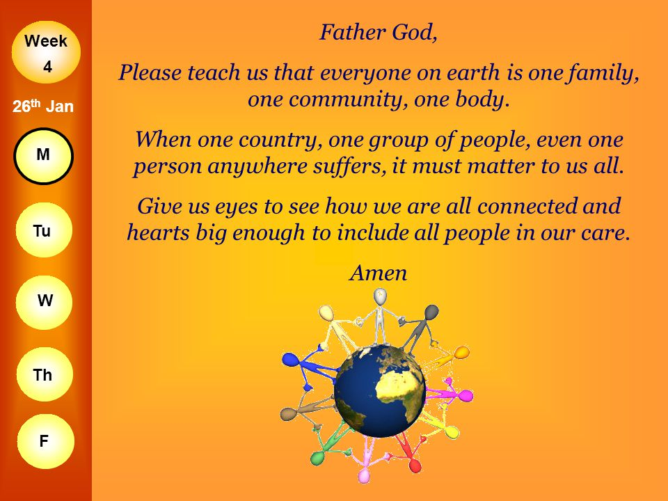 Father God, Please teach us that everyone on earth is one family, one community, one body.