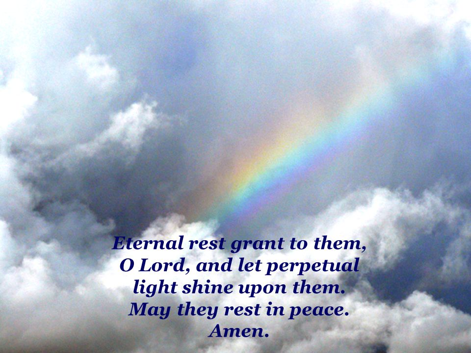 Eternal rest grant to them, O Lord, and let perpetual light shine upon them.