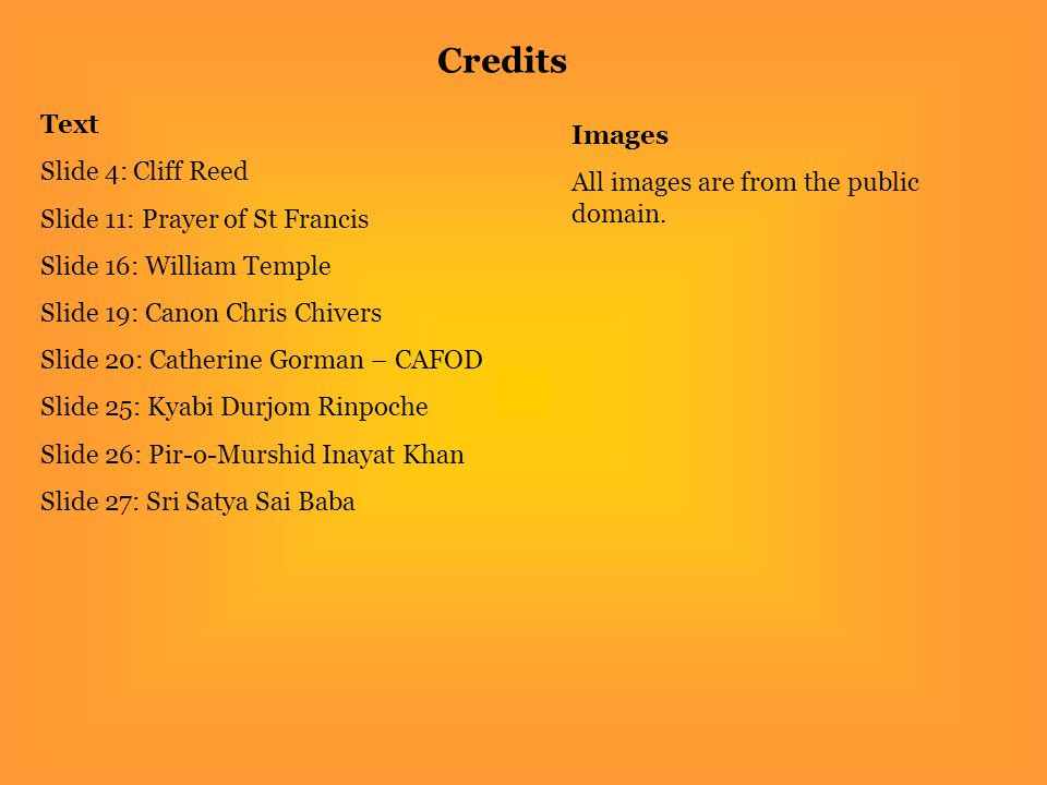 Credits Text Images Slide 4: Cliff Reed