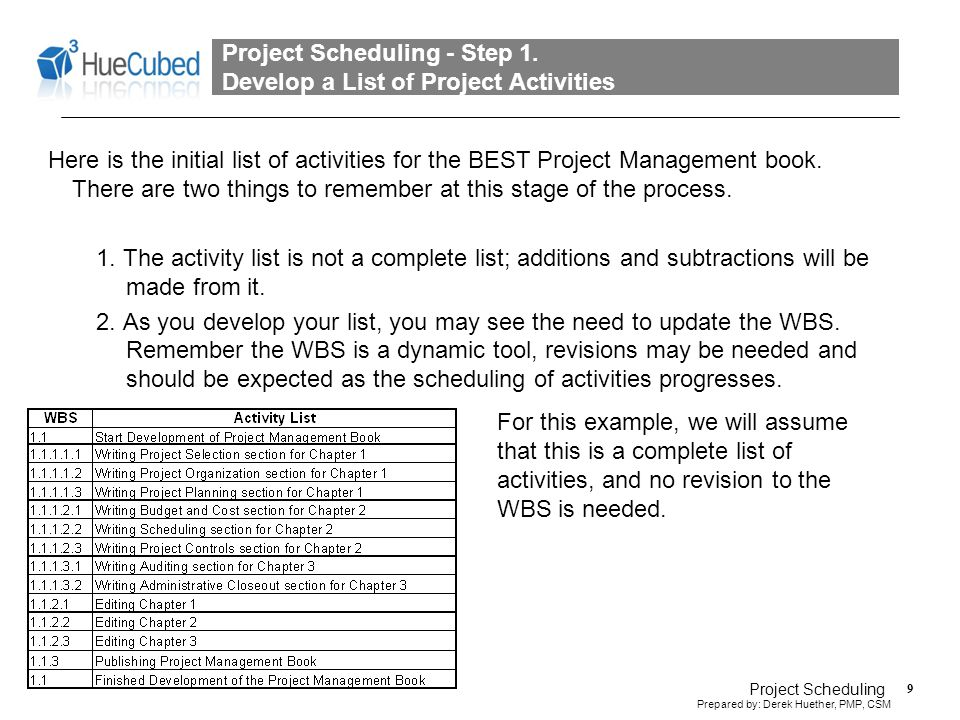 Project Scheduling - Step 2. Sequence the List of Project Activities