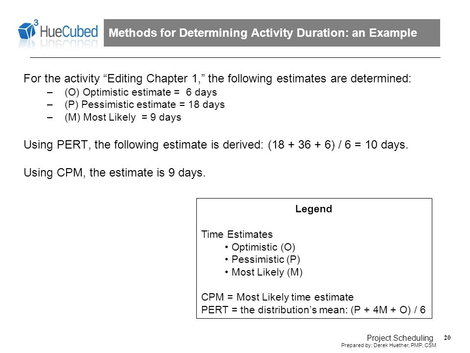 Project Scheduling - Step 4. Establish the Duration for Each Activity