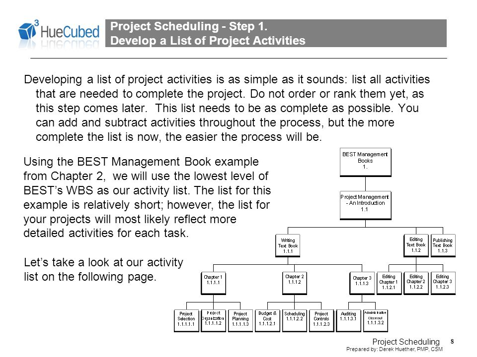 Project Scheduling - Step 1. Develop a List of Project Activities