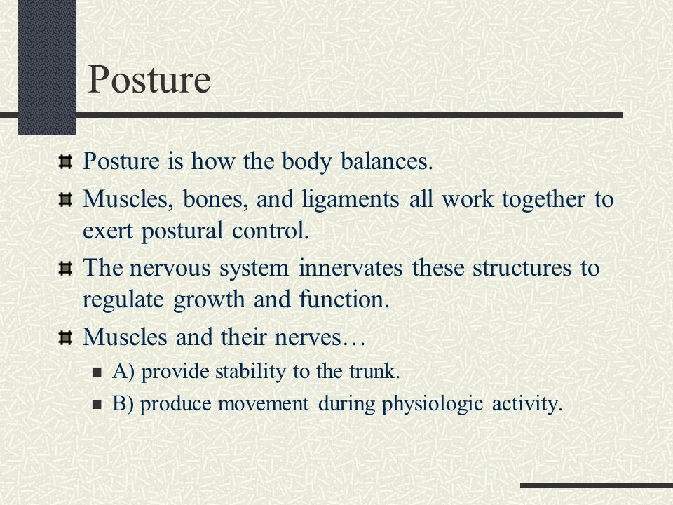 Posture Posture is how the body balances.