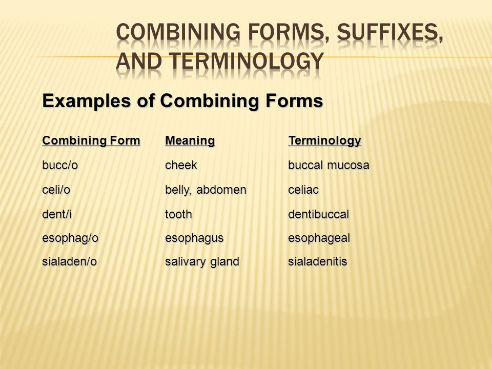 Combining Forms, Suffixes, and Terminology