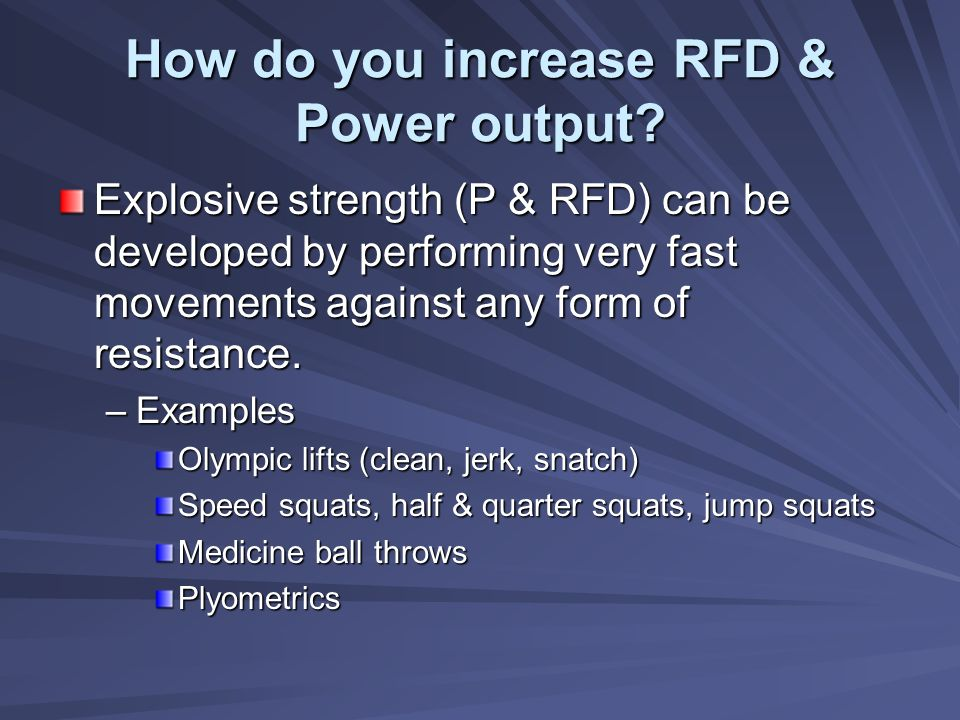 How do you increase RFD & Power output
