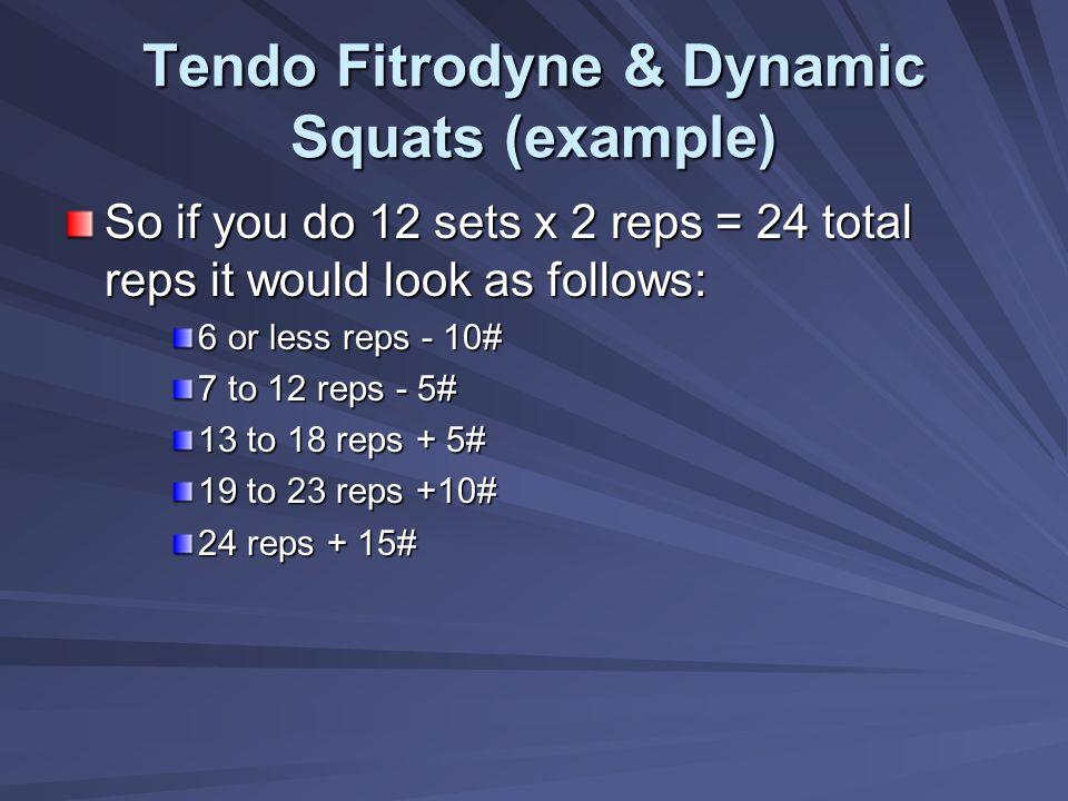 Tendo Fitrodyne & Dynamic Squats (example)