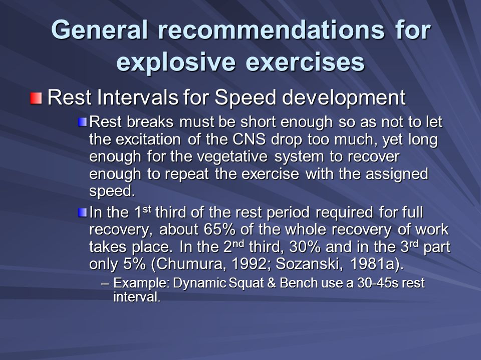 General recommendations for explosive exercises