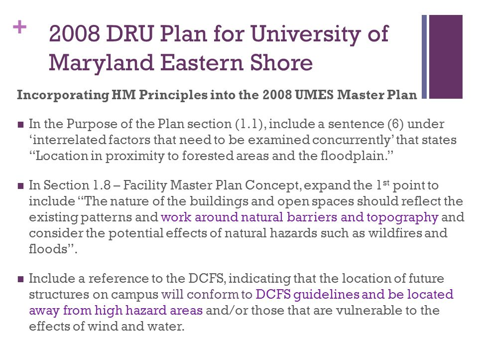 2008 DRU Plan for University of Maryland Eastern Shore