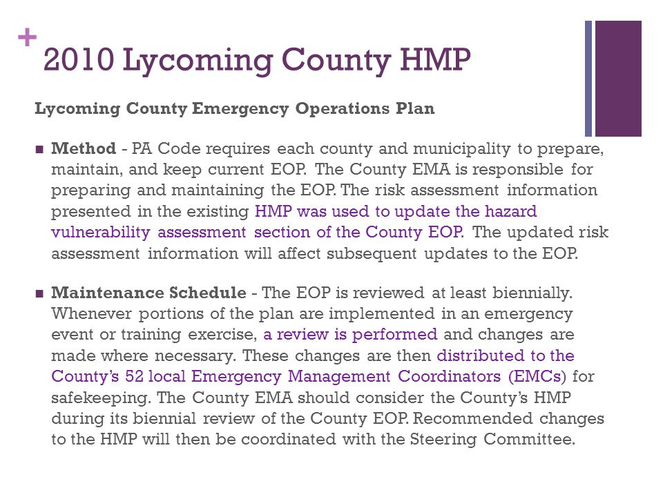 2010 Lycoming County HMP Lycoming County Emergency Operations Plan