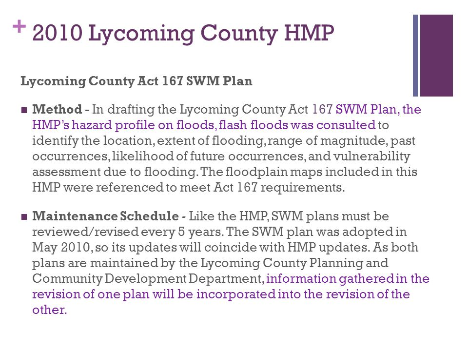 2010 Lycoming County HMP Lycoming County Act 167 SWM Plan