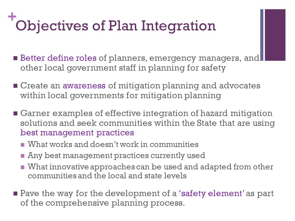 Objectives of Plan Integration