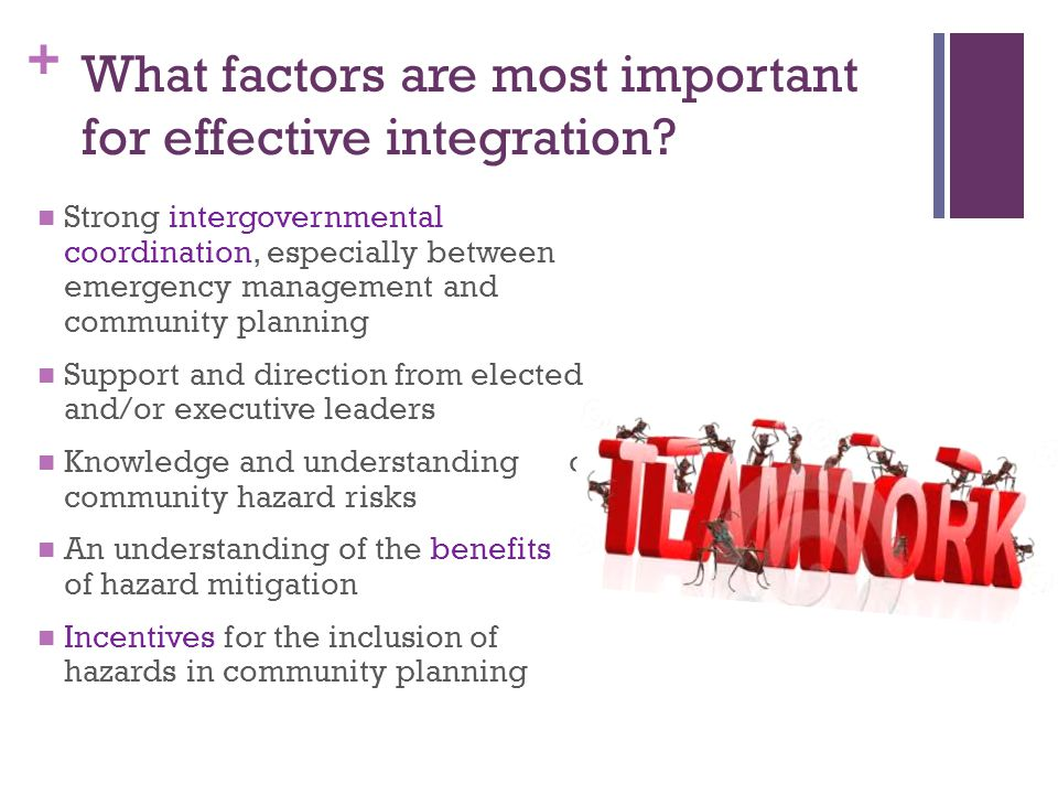What factors are most important for effective integration