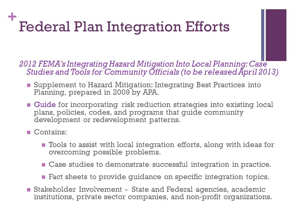 Federal Plan Integration Efforts