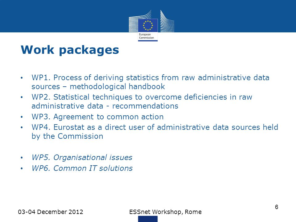Work packages WP1. Process of deriving statistics from raw administrative data sources – methodological handbook.