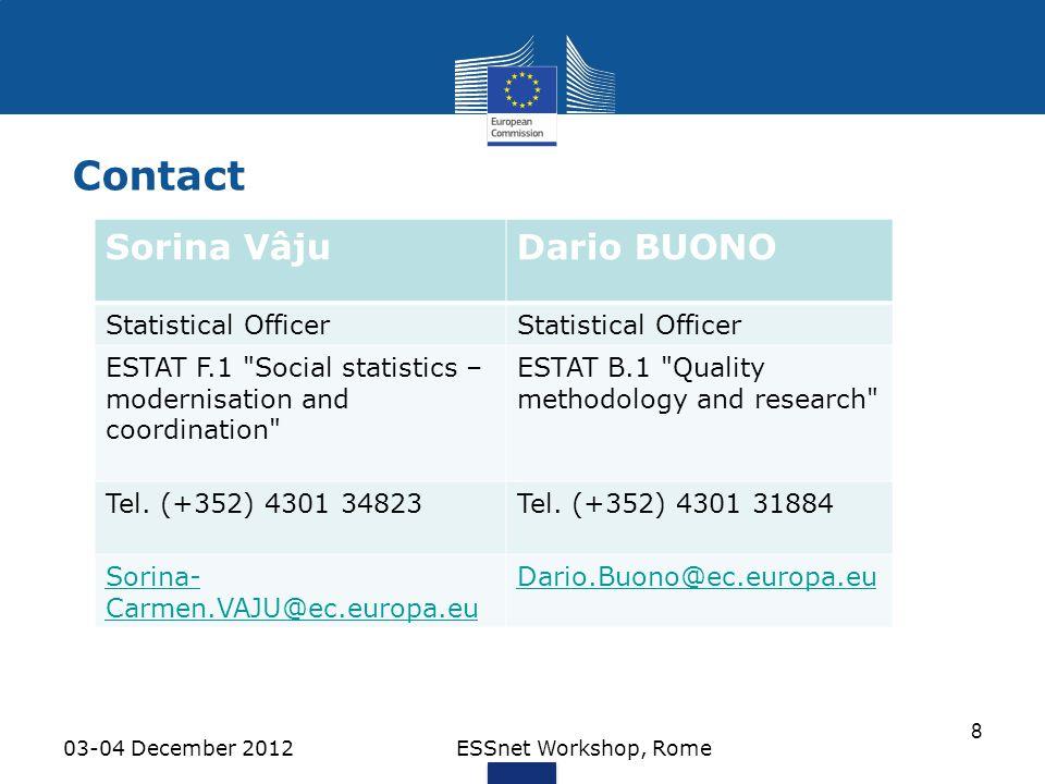 Contact Sorina Vâju Dario BUONO Thank you ! Statistical Officer