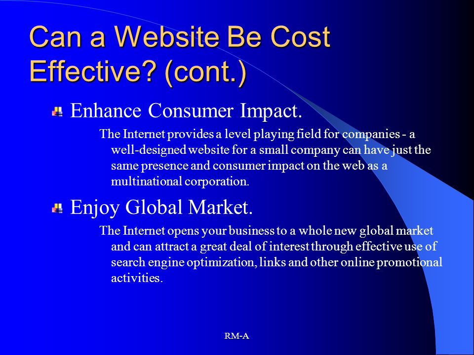 Can a Website Be Cost Effective (cont.)