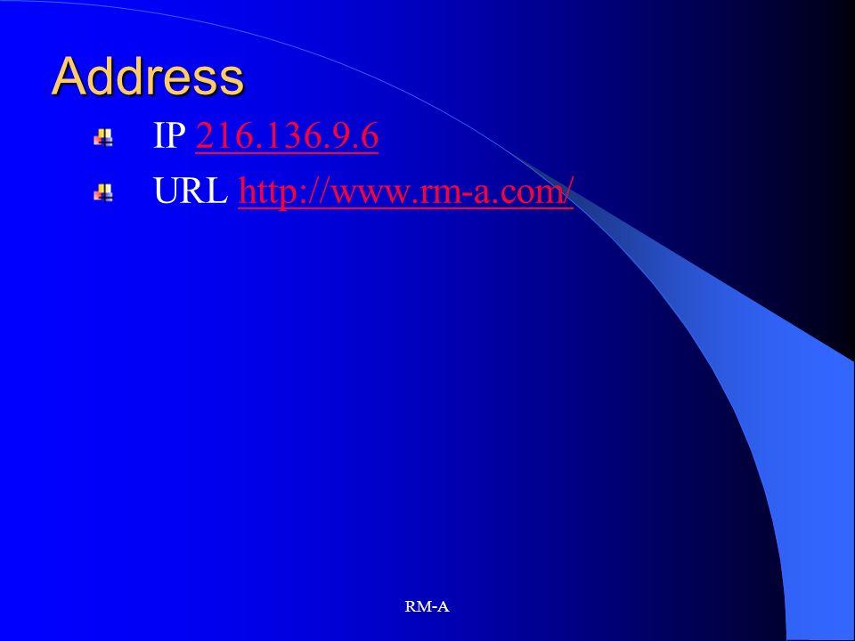 Address IP 216.136.9.6 URL http://www.rm-a.com/ RM-A
