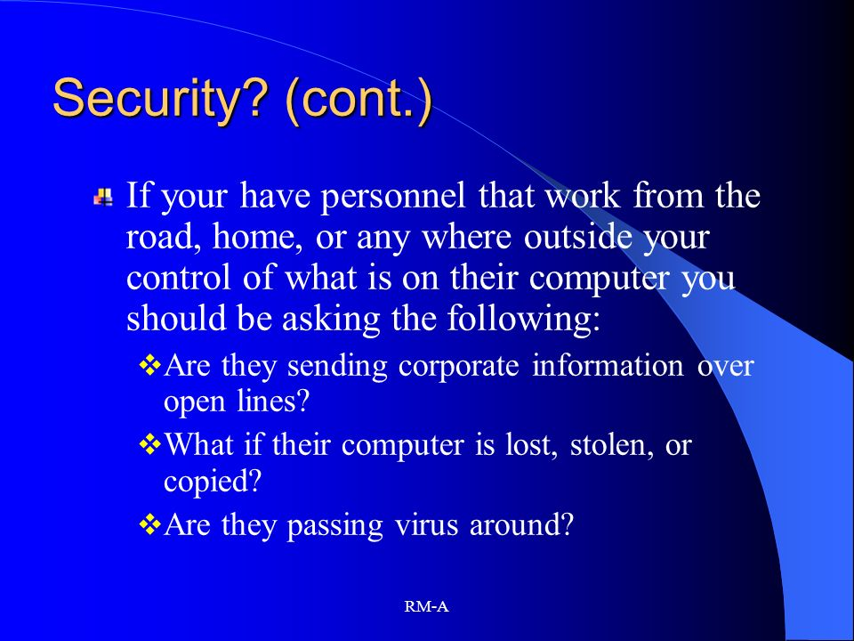 Security (cont.)