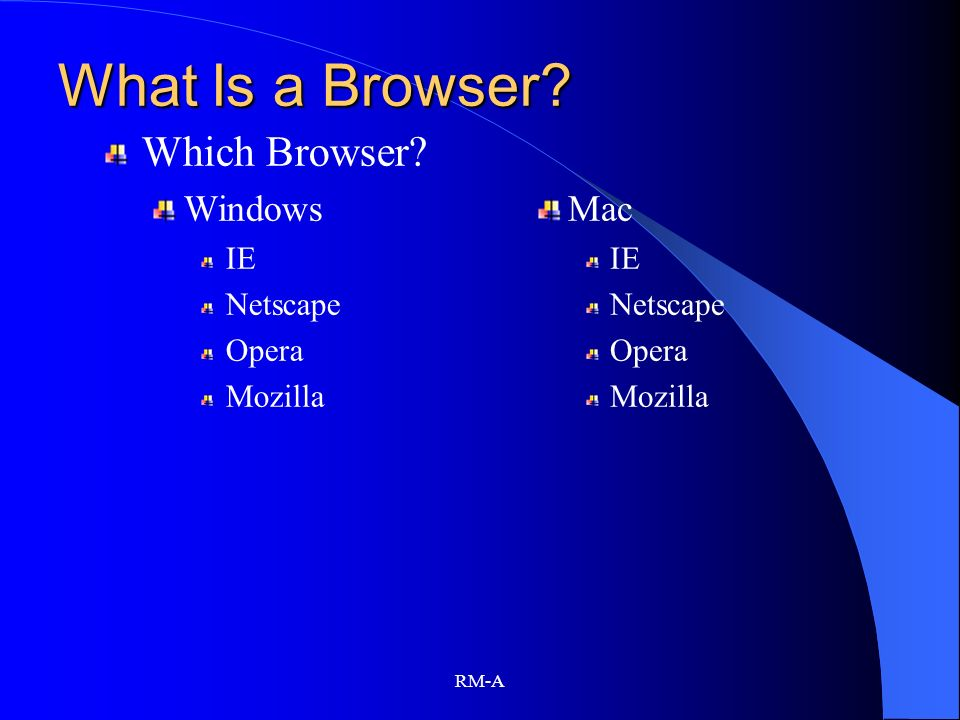 What Is a Browser Which Browser Windows Mac IE Netscape Opera
