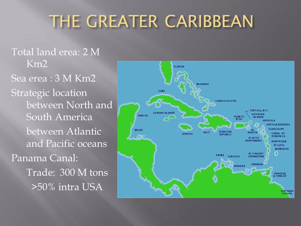 THE GREATER CARIBBEAN Total land erea: 2 M Km2 Sea erea : 3 M Km2