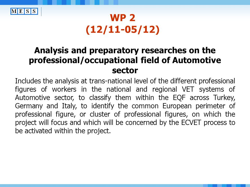 WP 2 (12/11-05/12) Analysis and preparatory researches on the professional/occupational field of Automotive sector.