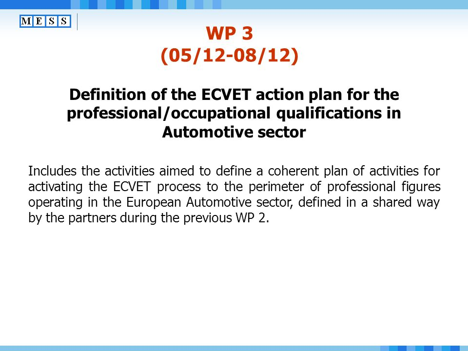 WP 3 (05/12-08/12) Definition of the ECVET action plan for the professional/occupational qualifications in Automotive sector.