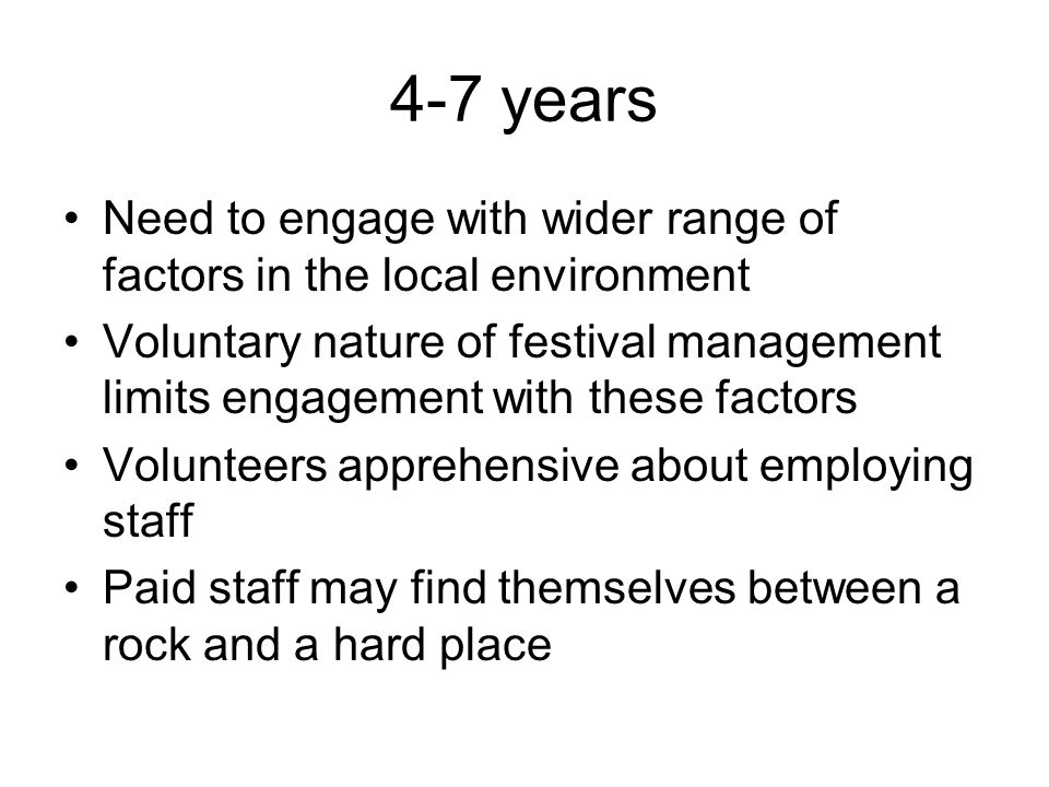 4-7 years Need to engage with wider range of factors in the local environment.