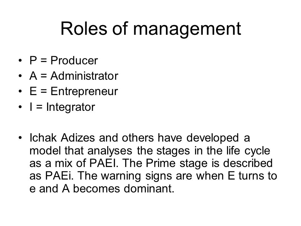 Roles of management P = Producer A = Administrator E = Entrepreneur