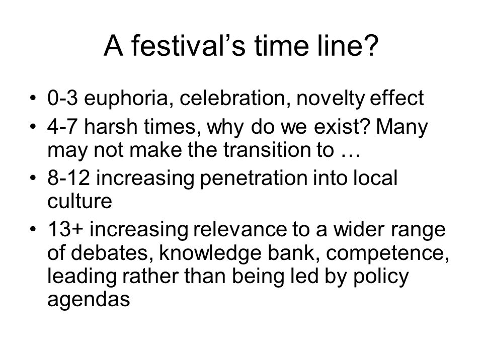 A festival's time line 0-3 euphoria, celebration, novelty effect