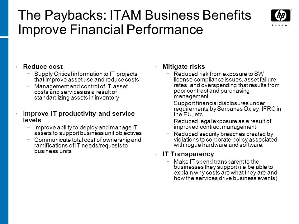The Paybacks: ITAM Business Benefits Improve Financial Performance