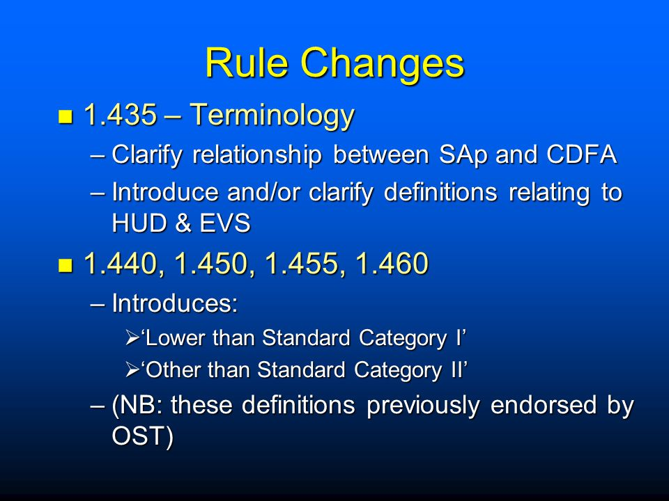 Rule Changes 1.435 – Terminology 1.440, 1.450, 1.455, 1.460