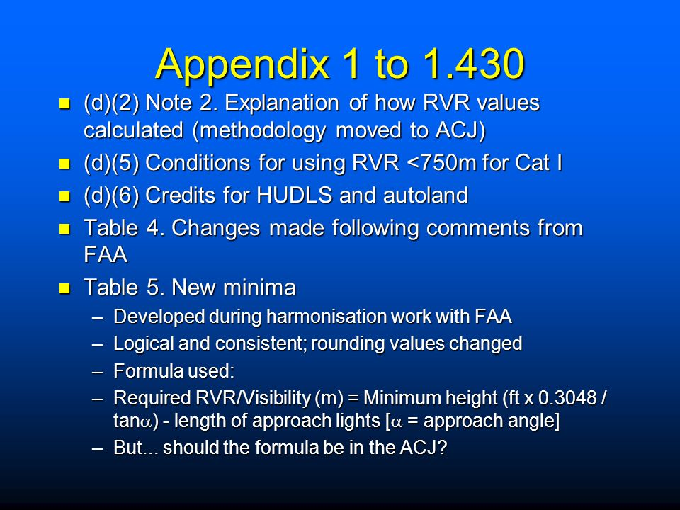 Appendix 1 to 1.430 (d)(2) Note 2. Explanation of how RVR values calculated (methodology moved to ACJ)