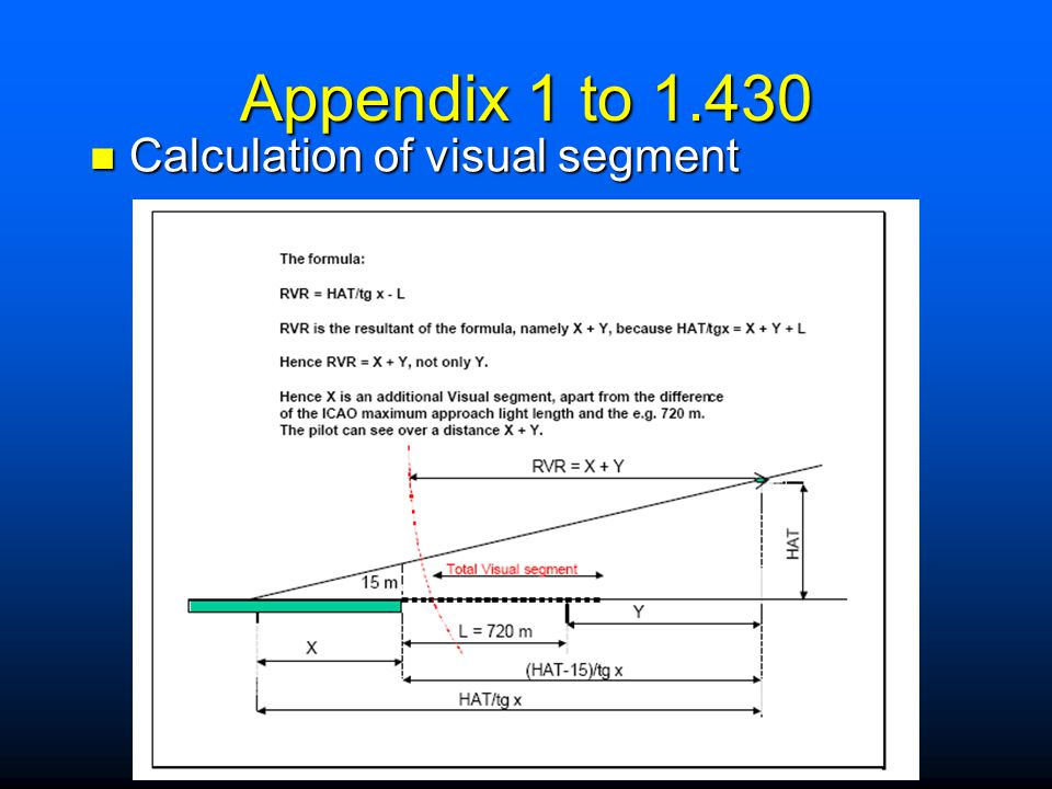 Appendix 1 to 1.430 Calculation of visual segment Bo to explain