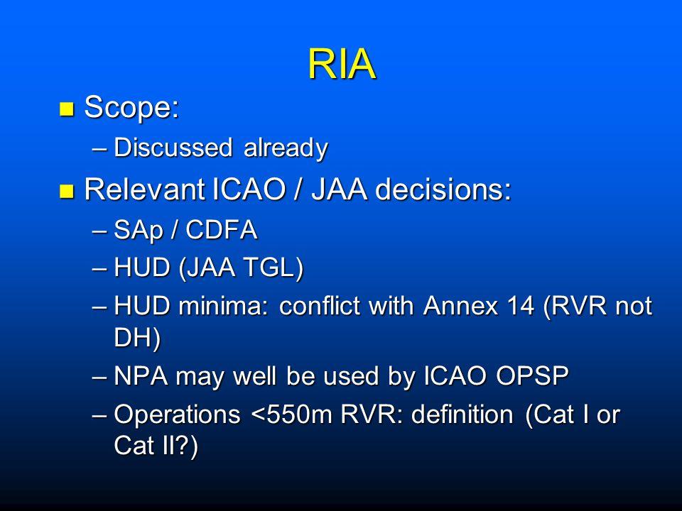 RIA Scope: Relevant ICAO / JAA decisions: Discussed already SAp / CDFA