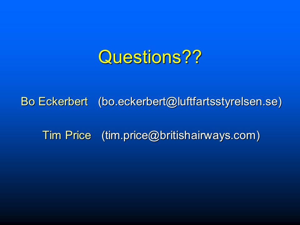 Questions Bo Eckerbert (bo.eckerbert@luftfartsstyrelsen.se)